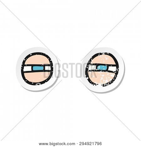 retro distressed sticker of a cartoon scowling eyes