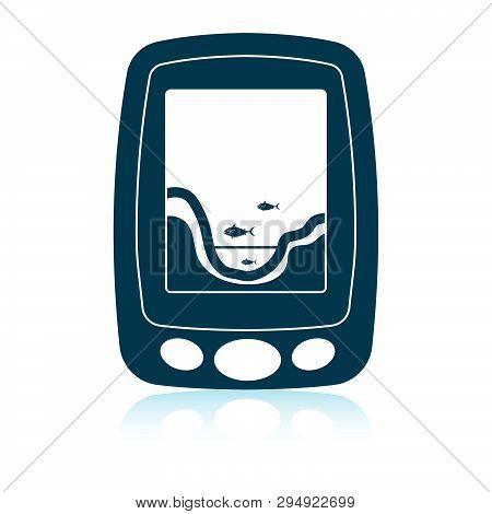 Icon Of Echo Sounder  . Shadow Reflection Design. Vector Illustration.