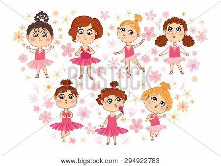 Set Of Vector Isolated Cute Little Ballerinas.