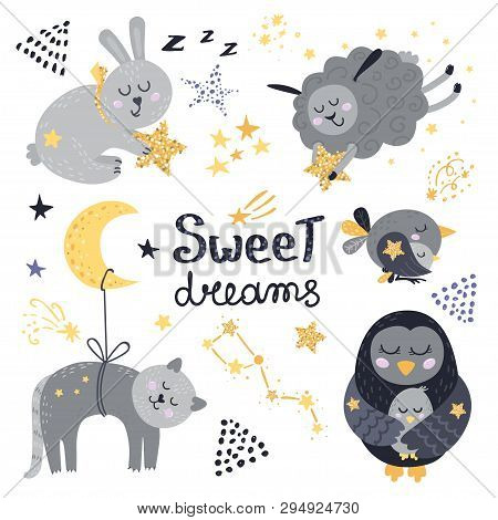 Vector Set Of Cute Sleeping Animals. Vector Illustration For Your Design
