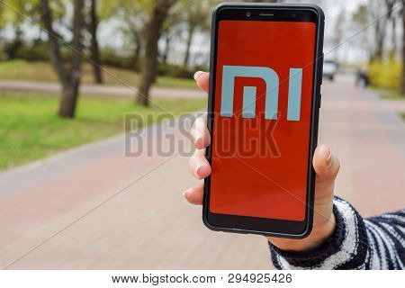 Ukraine, Kremenchug - April, 2019: Xiaomi Mi Logo On Smartphone Screen.