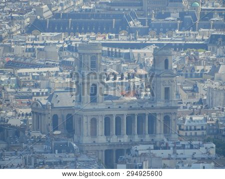 Closeup Of Saint-sulpice Church Or Eglise Saint-sulpice At Sunset Light From Panoramic Terrace Of To
