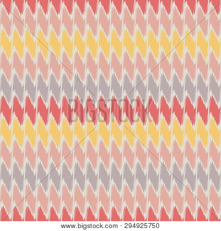 Fabric Effect Dense Geometric Design With Hand Drawn Horizontal Pastel Stripes And Accent Coral Colo