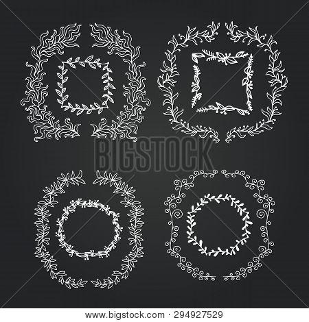 Chalkboard Doodle Branches Frames Set. Vector Wreath