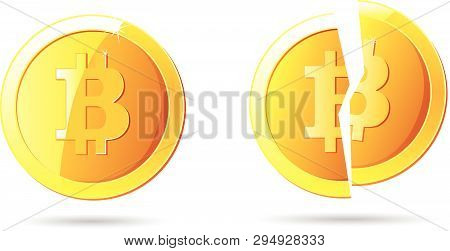 Bitcoin And Broken Bitcoin Yellow Cryptocurrency On White Background