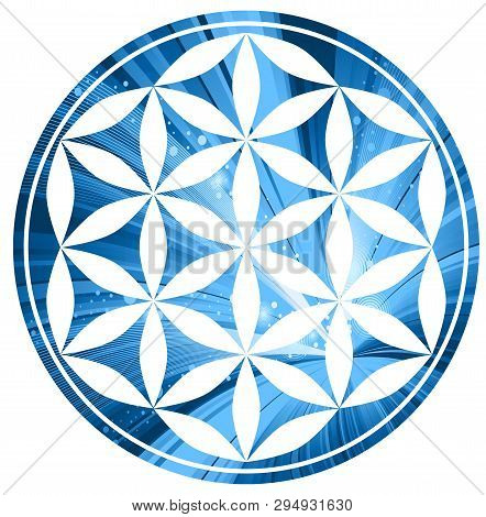 circles sacred symmetry esoteric energy blue illustration poster