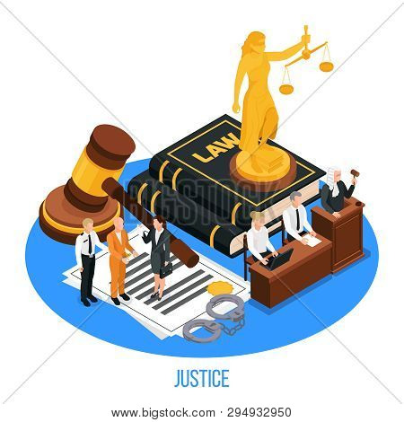 Law Justice Isometric Composition With Golden Figurine Of Themis Upon Book Of Law With Human Charact