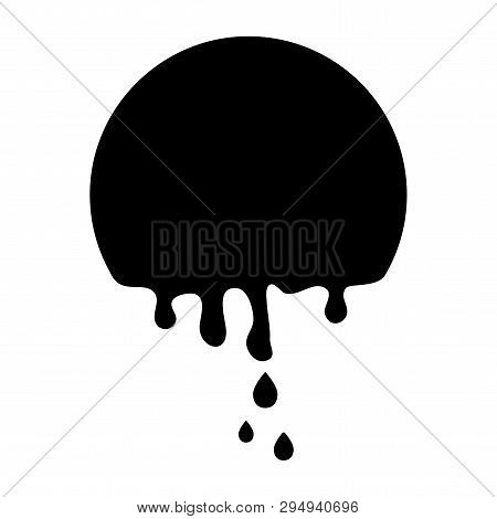 Black Round Banner, Paint Dripping. Template Background Flowing Down. Easy Edit Color. Vector Illust