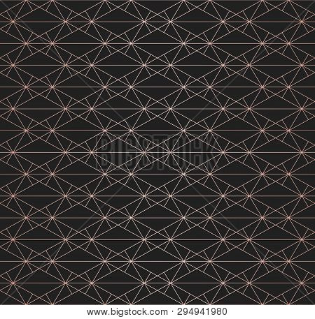 Rose Gold Pattern. Vector Geometric Seamless Texture With Metallic Copper Lines, Delicate Grid, Diam
