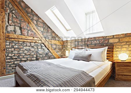 Bedroom Interior In Luxury Loft, Attic, Apartment With Roof Windows - Hotel Room - Vacation Concept