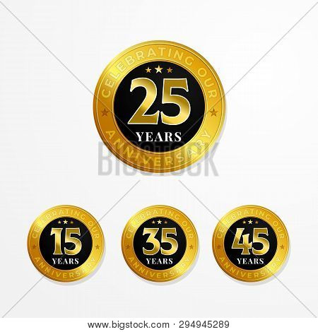 Anniversary Logo Badge Vector Design. Set Of Shiny Gold Black Medal Button With Numbers For Birthday