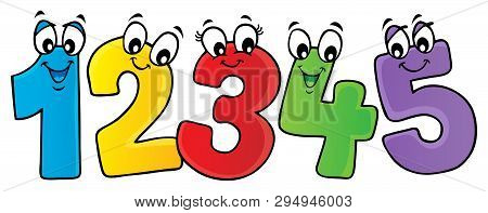 Cartoon Numbers Theme Image 2 - Eps10 Vector Picture Illustration.