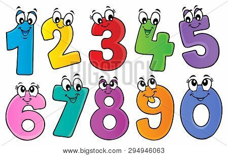 Cartoon Numbers Theme Set 1 - Eps10 Vector Picture Illustration.