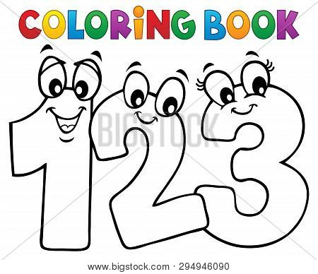 Coloring Book Cartoon Numbers Image 1 - Eps10 Vector Picture Illustration.