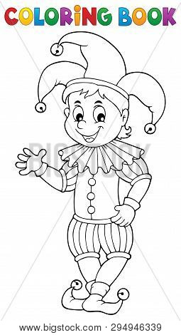Coloring Book Happy Jester Theme 1 - Eps10 Vector Picture Illustration.