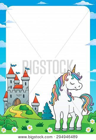 Dreaming Unicorn Theme Frame 1 - Eps10 Vector Picture Illustration.