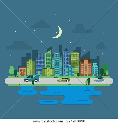 City Cityscape Skyline Landmark Building Traffic Street Illustration