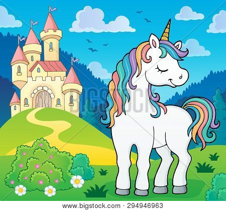 Dreaming Unicorn Theme Image 3 - Eps10 Vector Picture Illustration.