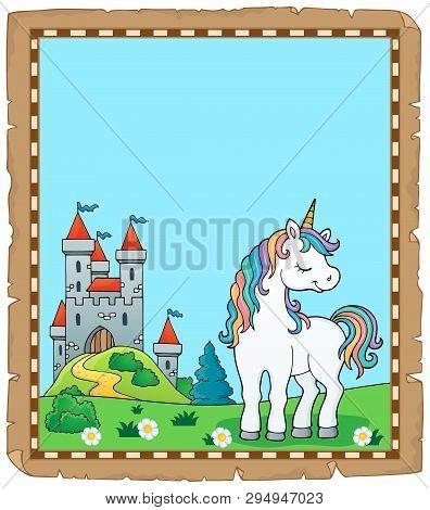 Dreaming Unicorn Theme Parchment 1 - Eps10 Vector Picture Illustration.