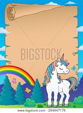 Dreaming Unicorn Theme Parchment 2 - Eps10 Vector Picture Illustration.