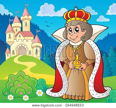 Happy Queen Near Castle Theme 5 - Eps10 Vector Picture Illustration.