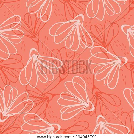Hand Painted Large Scale Floral Vector Seamless Pattern. Coral Red Background Tone On Tone Stem Bloo