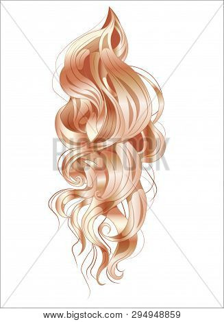 Vector Ringlets Of Hair, Long And Curling, Golden