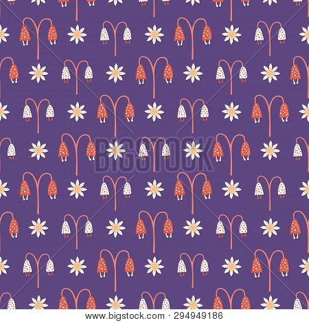 Hand Painted Small Scale Floral Vector Seamless Pattern . Purple Background.