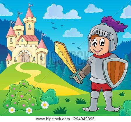 Knight Near Stylized Castle - Eps10 Vector Picture Illustration.