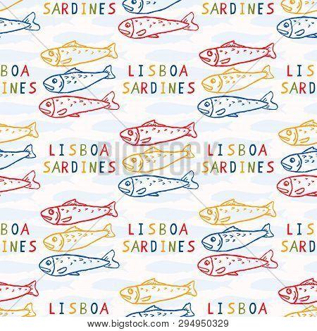 Sardine Fish Seamless Vector Pattern. Lisbon St Antonio Traditional Portugese Food Festival Grilled