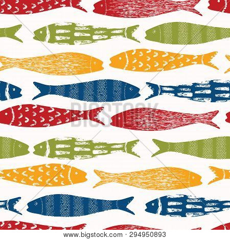 Sardine Shoal Of Fish Seamless Vector Pattern Of Grilled Fishes. Lisbon St Antonio Traditional Portu