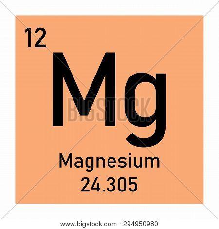 Periodic Table Element Magnesium Icon On White Background