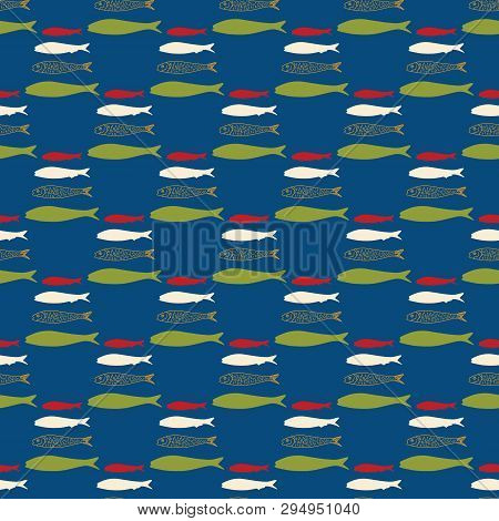 Sardine Shoal Of Fish Swimming Seamless Vector Pattern. Lisbon St Antonio Traditional Portugese Food