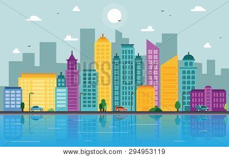 City Cityscape Skyline Landmark Building Traffic Street Illustration