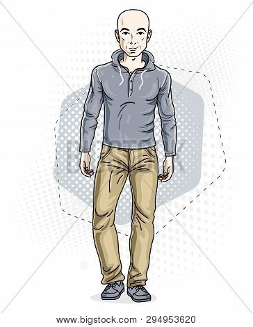 Handsome Hairless Young Man Poses On Modern Background. Vector Illustration Of Male Wearing Jeans An