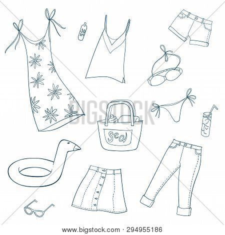 Summer Women And Girls Clothes. Set Of Hand Drawn Vector Illustrations. Line On White Background.
