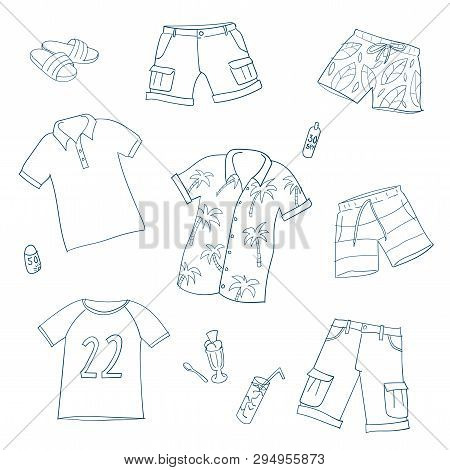 Summer Men And Boys Clothes. Set Of Hand Drawn Vector Illustrations. Line On White Background. Line