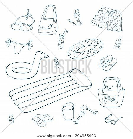Summer And Beach Items. Set Of Hand Drawn Vector Illustrations. Line On White Background.