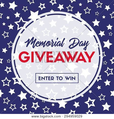 Memorial Day Giveaway Vector Banner. Template For Social Media Promotion