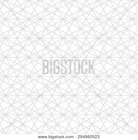 Silver Linear Pattern. Vector Geometric Seamless Texture. Subtle Gray Metallic Lines On White Backgr