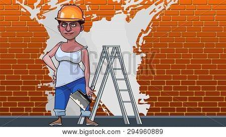 Cartoon Woman Plasterer On Brick Wall Background With White Paint