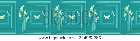 Hand Drawn Delicate Citrus Leaves And Butterflies In Tiled Border Design. Seamless Vector Pattern On