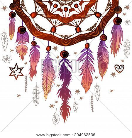 Background Border With Feathers And Crystals. Vector Illustration