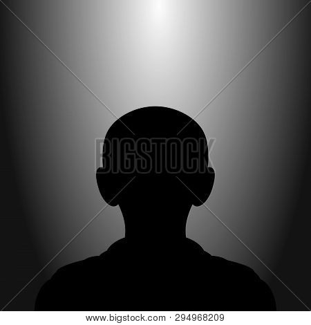Default Avatar Silhouette Child Profile Icon. Illustration Of Person Icon With Lights Effects