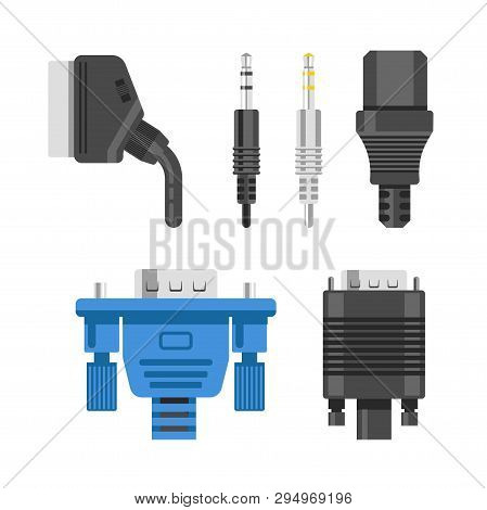 Connection Cable And Connectors Audio Or Video Adapters And Plug Isolated Vector