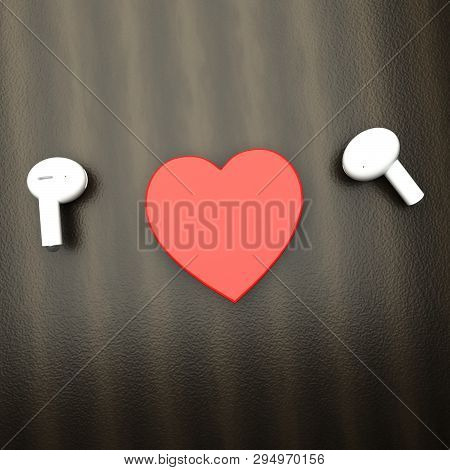 White Earphones With A Heart In Between
