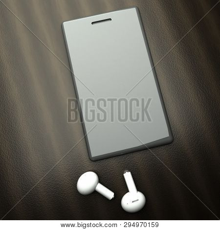 Smartphone Over Table With White Wireless Earphones