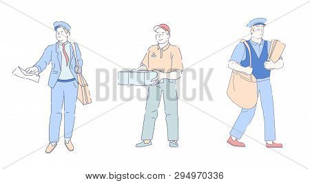 Delivery Fast Service Postman With Bag And Letter Envelope Vector Mailman Or Post Officer