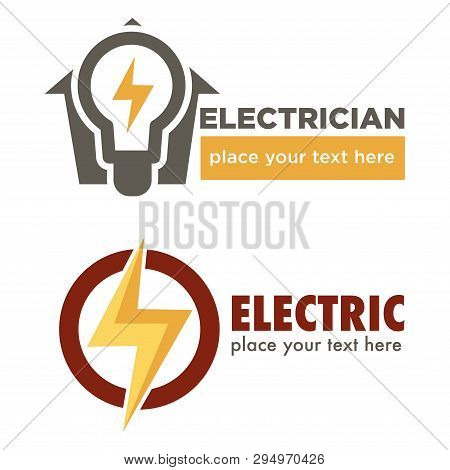 Electric Repair And Electrician Service And Works Isolated Icon Vector Thunder And Light Bulb