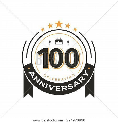 100th Birthday Vintage Logo Template Anniversary Circle Retro Isolated Vector Emblem. One Hundred Ye